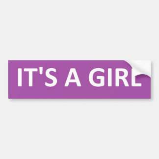 ITS A GIRL PURPLE BUMPER STICKER