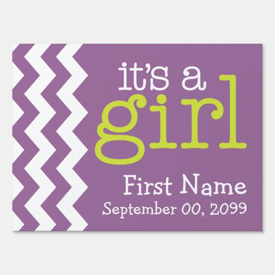 Its A Girl - purple chevrons Sign