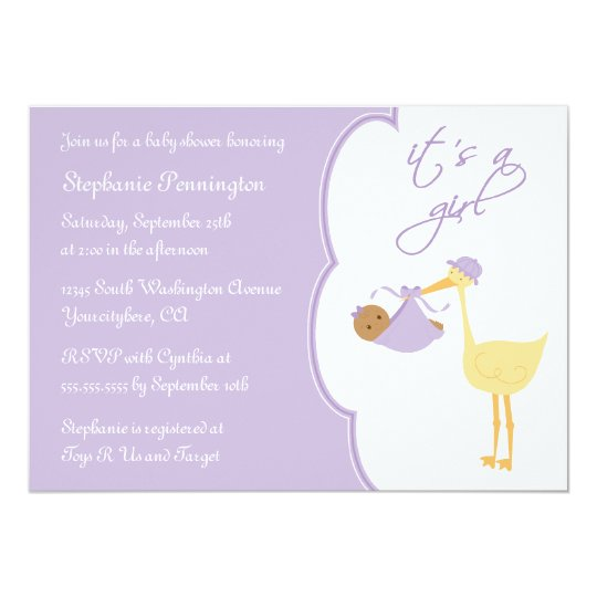 It's a girl purple stork baby shower invitation