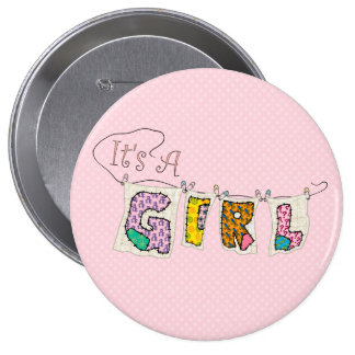 It's A Girl Quilted - Birth Announcement BUTTON #2 Pin