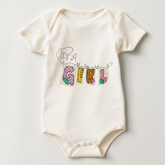 It's A Girl Quilted - Birth Announcement Infant Baby Bodysuit