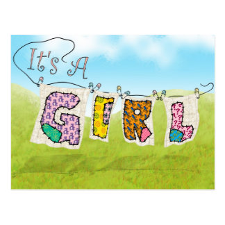 It's A Girl Quilted - Birth Announcement Post-Card Postcard