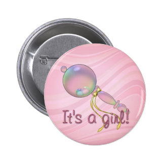 IT'S A GIRL RATTLE by SHARON SHARPE 2 Inch Round Button