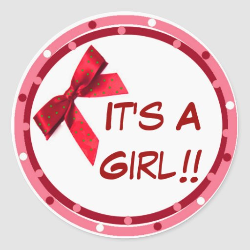 It's a Girl Red Announcement Stickers