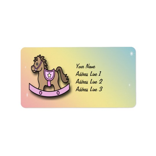 It's a Girl Rocking Horse Baby Shower Address Labe Label