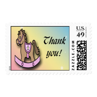 It's a Girl Rocking Horse Baby Shower Thank You Postage Stamp