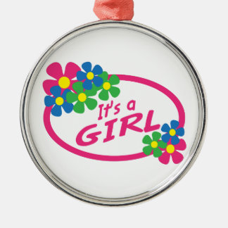 ITS A GIRL ROUND METAL CHRISTMAS ORNAMENT