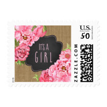 IT'S A GIRL Rustic Pink floral baby shower stamp