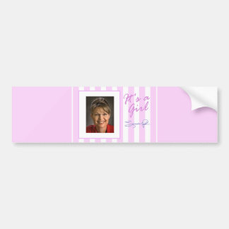 """""""IT'S A GIRL"""" Sarah Palin pink bumper sticker gift"""