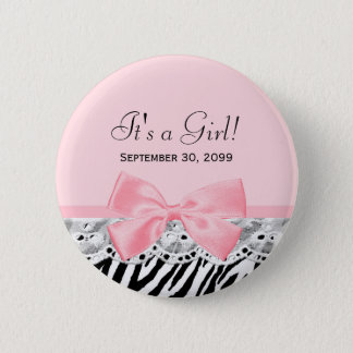 Its a Girl Shower Pink Ribbon and Lace Zebra Print Button
