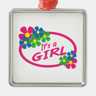 ITS A GIRL SQUARE METAL CHRISTMAS ORNAMENT