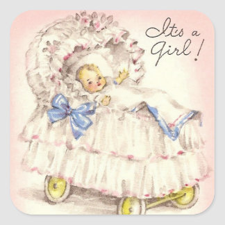 It's a girl! square stickers