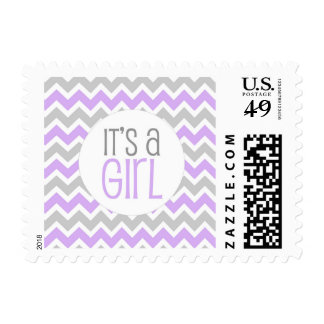 It's a girl stamp, lavender baby shower postage