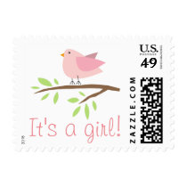 It's a girl stamp with cute pink bird illustration