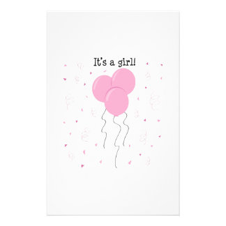 Its A Girl Customized Stationery