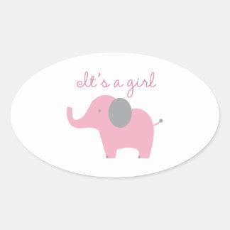 It's A Girl Oval Sticker