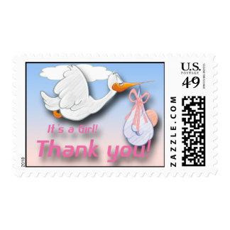 It's a Girl Stork Baby Shower Thank You Postage