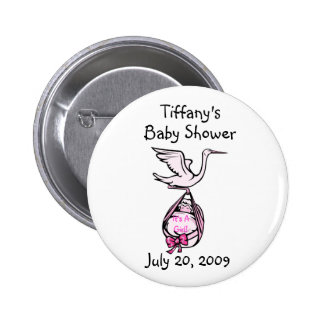 It's A Girl Stork Button