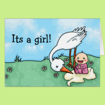 Its a girl stork delivery congratulations card