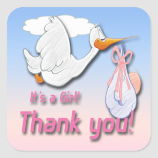 It's a Girl Stork Thank You envelope seal