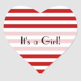 It's a Girl - Stripes (Parallel Lines) - Red White Heart Sticker