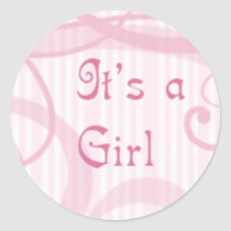It's a girl -swirly classic round sticker