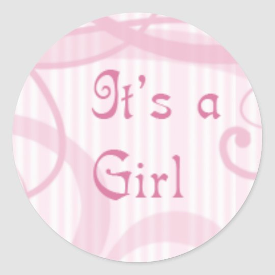 It's a girl -swirly classic round sticker