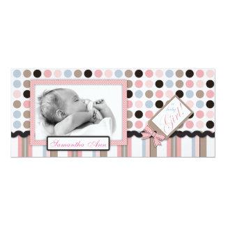 "It's a Girl! Tall Announcement Card 4"" X 9.25"" Invitation Card"