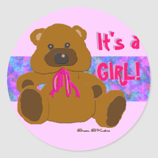 """""""It's a Girl"""" Teddy Bear Collection Classic Round Sticker"""