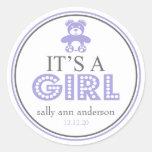 It's A Girl Teddy Bear Favor Sticker (Purple)