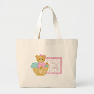 It's a girl - teddy bear large tote bag