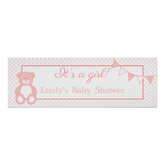 It's a Girl! Teddy Bear New Baby Banner Poster