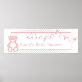 It's a Girl! Teddy Bear New Baby Banner Print