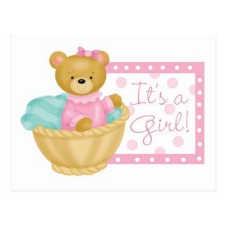 It's a girl - teddy bear postcard