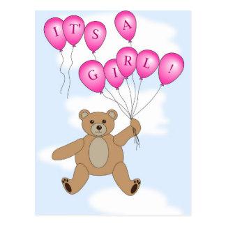 It's a girl Teddy Bear postcard
