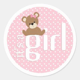 It's a Girl Teddy Bear Sticker