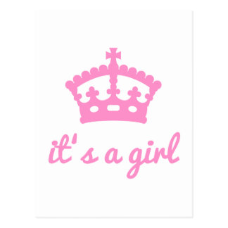 It's a girl, text design with pink crown postcard