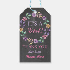 It's a Girl Thank you Baby Shower Pink Flower Tags