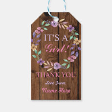 It's a Girl Thank you Baby Shower Pink Wood Tags