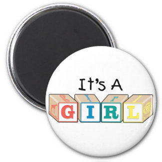 It's A Girl Toy Blocks 2 Inch Round Magnet