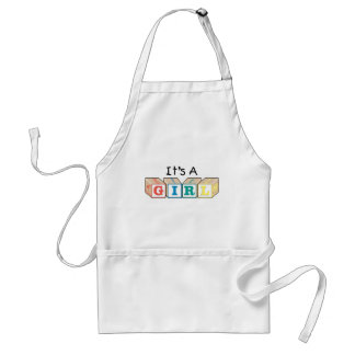 It's A Girl Toy Blocks Adult Apron
