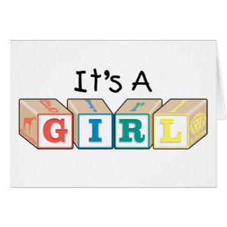 It's A Girl Toy Blocks Card