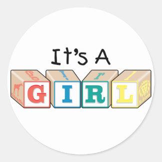 It's A Girl Toy Blocks Classic Round Sticker