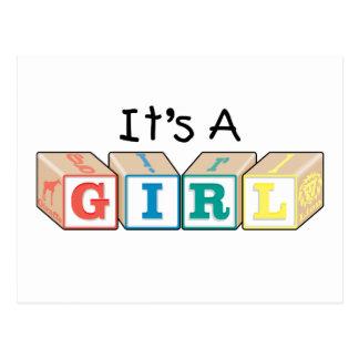 It's A Girl Toy Blocks Postcard