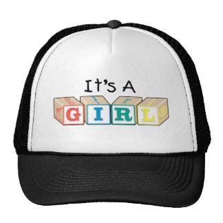 It's A Girl Toy Blocks Trucker Hat
