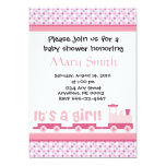 """It's A Girl!""  Toy Train Baby Shower Invitation 5"" X 7"" Invitation Card"