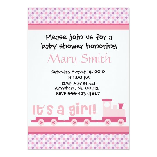 """""""It's A Girl!""""  Toy Train Baby Shower Invitation"""