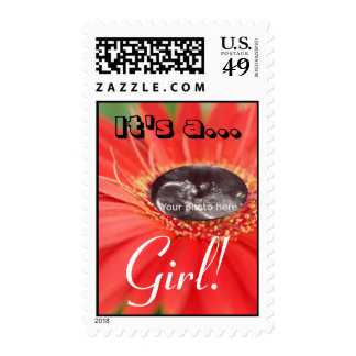 """It's a Girl!"" Ultrasound Red Daisy Stamps"