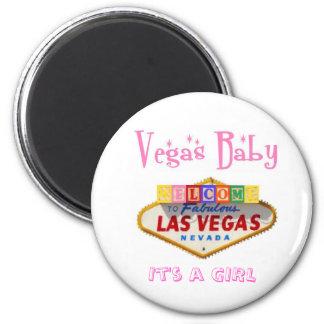 It's a GIRL Vegas Baby Magnet Announcement
