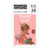 It's A Girl Vintage Baby on Phone Thank You Postage